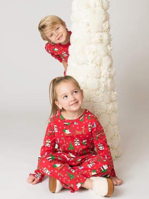 Sara's Prints フリル プリント パジャマ レッドクリスマス 3