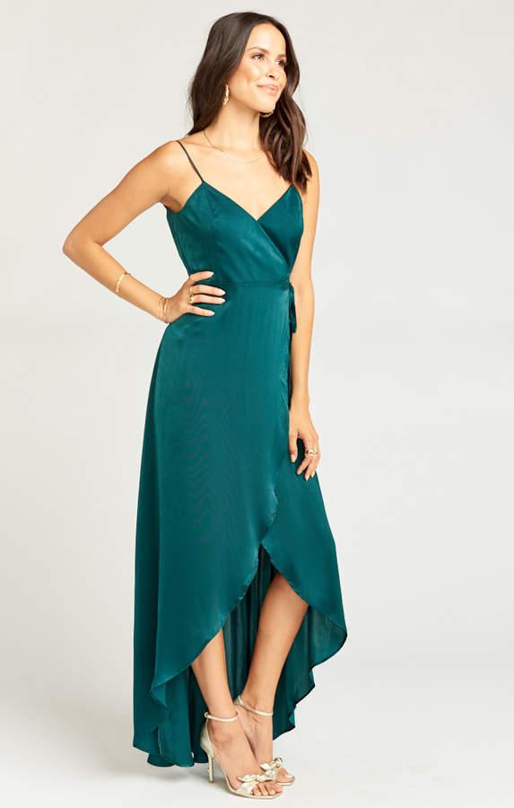 Show Me Your Mumu Mariah Wrap Dress ~ Dark Emerald Sheen