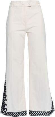 Tory Burch Beaded Embroidered Cotton-canvas Kick-flare Pants