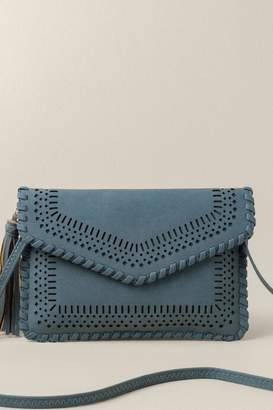 francesca's Kamryn Perforated Envelope Clutch In Chambray - Chambray