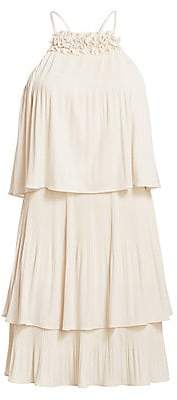 Halston Women's Pleated Tiered Jersey Dress