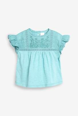 Next Girls Rust Embroidered Short Sleeve Blouse (3mths-7yrs)