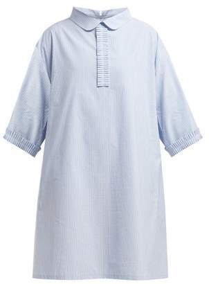 MM6 MAISON MARGIELA Pleated Trim Cotton Poplin Shirtdress - Womens - Blue Stripe