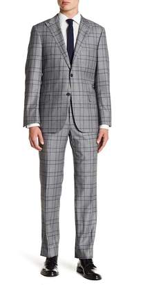 Hickey Freeman Grey Blue Plaid Two Button Peak Lapel Classic Fit Suit