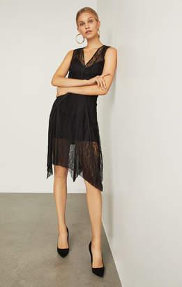 BCBGMAXAZRIA Asymmetrical Lace-Trimmed Dress