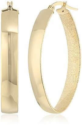 14k Gold Italian Diamond Shape Hoop Earrrings