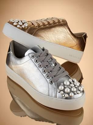 MICHAEL Michael Kors Poppy Embellished Metallic Leather Sneaker