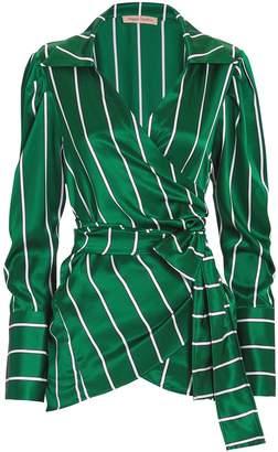 Maggie Marilyn Wrap It Up Jade Stripe Silk Top
