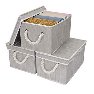 Laundry by Shelli Segal StorageWorks Storage Bins with Lid and Cotton Rope Handles
