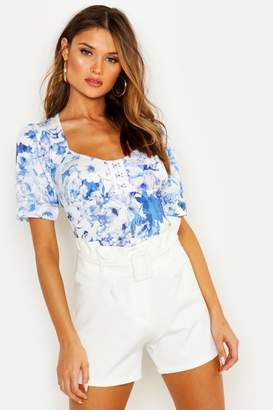 boohoo Floral Print Corset Style Top