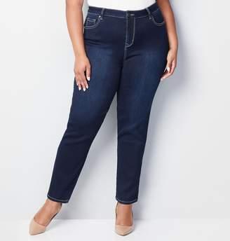 Avenue Plus Size Butter Denim Straight Leg Jean In Dark Wash