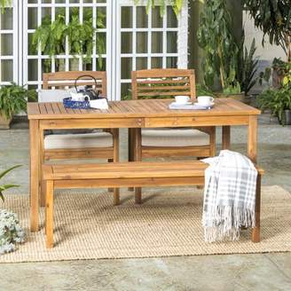Manor Park Acacia Wood Simple 4 Piece Patio Dining Set - Brown