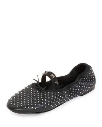 Valentino Rockstud Crystal Leather Ballerina Flat, Black/Black Diamond $795 thestylecure.com
