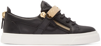 Giuseppe Zanotti Black Leather London Low-Top Sneakers $765 thestylecure.com