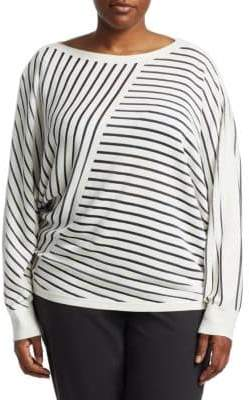 Lafayette 148 New York, Plus Size Directional Stripe Top