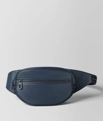 Bottega Veneta Denim/Tourmaline Calf Intrecciato Checker Belt Bag