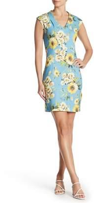 Sharagano V-Neck Print Shift Dress