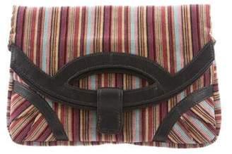 Lauren Merkin Leather-Trimmed Fold-Over Clutch