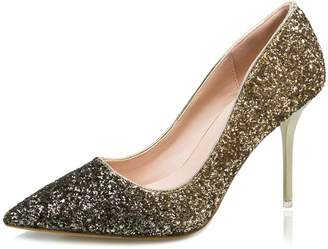 fereshte Womens Glitter Pointed-Toe Slip On Stiletto High Heels Wedding Shoes Dress Pumps Purple US Size 7.5