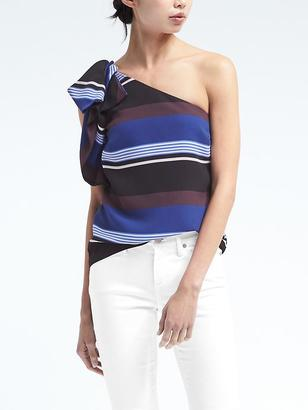 Easy Care One-Shoulder Bow Top $78 thestylecure.com