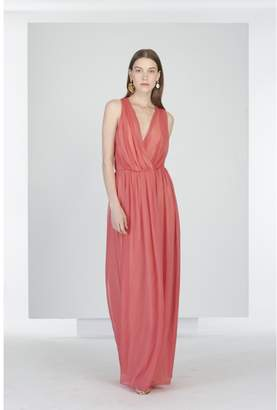 Oscar de la Renta Mykonos Carmine Silk-Chiffon Dress