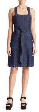 7 For All Mankind Belted A-Line Denim Dress $279 thestylecure.com