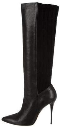 Oscar de la Renta Knit-Trim Knee-High Boots