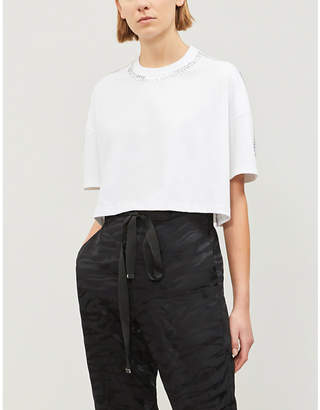 The Kooples Embellished cropped cotton-jersey T-shirt