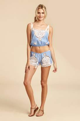 Miguelina Minnie Mirage Paisley Broderie Anglaise Short - Periwinkle