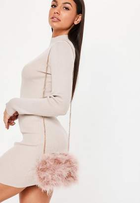 Missguided Blush Round Feather Clutch Bag