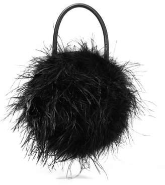 Loeffler Randall Zadie Feather-embellished Leather Tote - Black