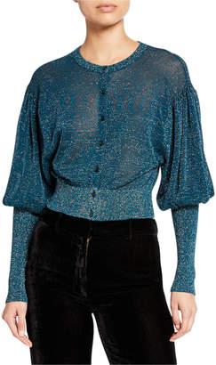 Sies Marjan Metallic Puff-Sleeve Cardigan Sweater