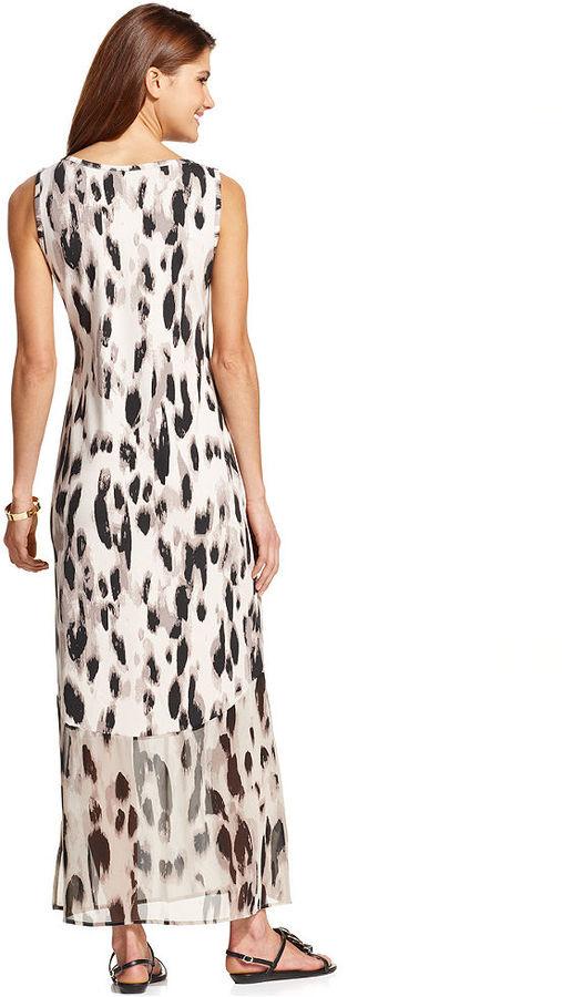 Style&Co. Petite Animal-Print Chiffon-Hem Maxi Dress