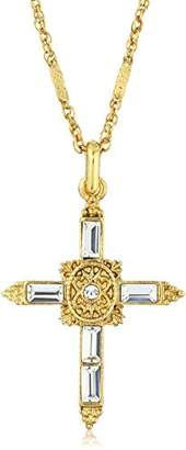 Symbols of Faith Inspirations 14k Gold-Dipped Crystal Cross Pendant Necklace