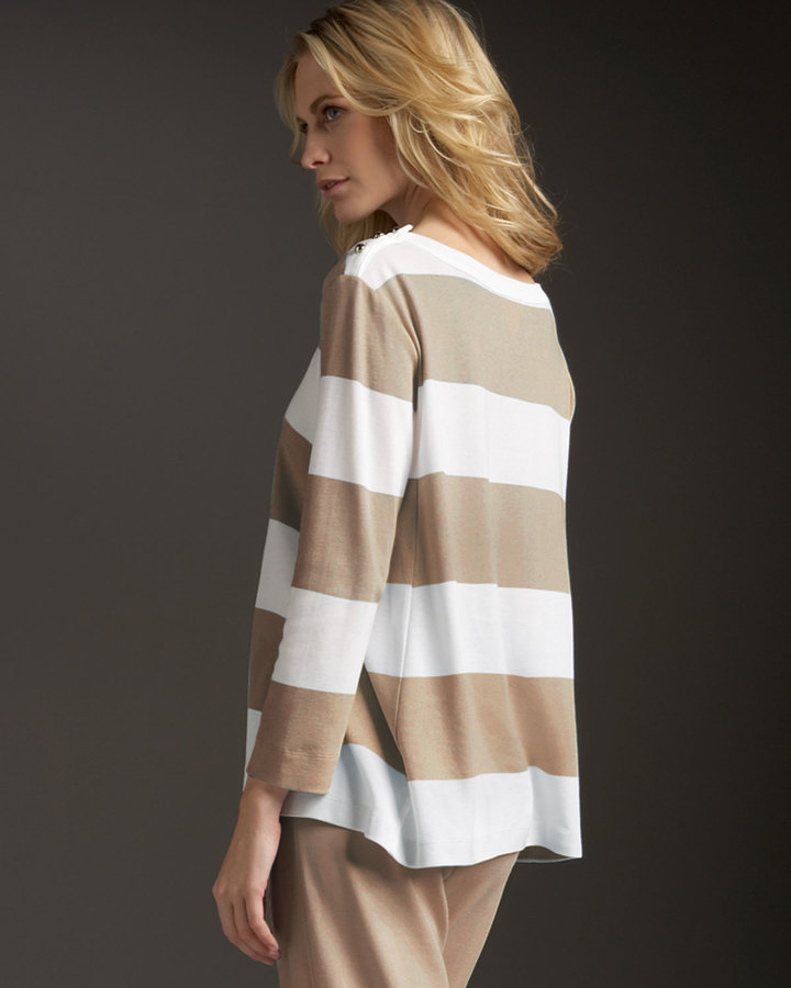 Joan Vass CLSSC STRIPE PULLOVER TOP