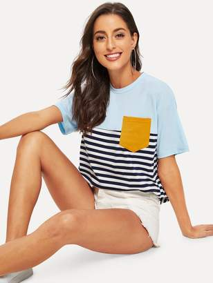 Shein Color-block Pocket Patch Striped Tee