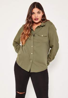 Missguided Plus Size Exclusive Khaki Military Shirt