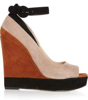 Paul Andrew Color-Block Suede Wedge Sandals