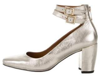 Halston Metallic Leather Ankle Strap Pumps