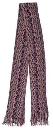 Missoni Chevron Wool-Blend Shawl Purple Chevron Wool-Blend Shawl