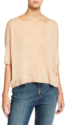 Eileen Fisher Plus Size Organic Linen Delave Ballet-Neck Elbow-Sleeve Box Top