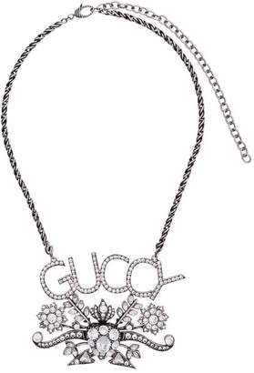 Gucci logo and floral pendant crystal necklace