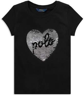 Ralph Lauren Girls' Sequin Heart Tee - Big Kid