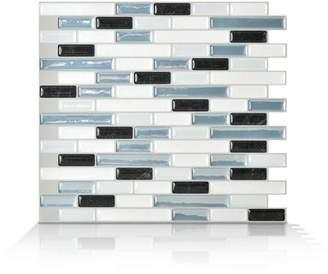 Smart Tiles Mosaik Muretto Brina 10.20 x 9.10 Peel & Stick Wall Tile in Charcoal, White & Stone Blue