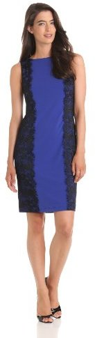 Isaac Mizrahi Women's Fitted Jersey Dress With Lace Trim