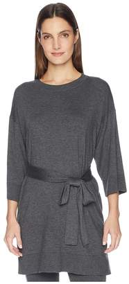 Eileen Fisher Lightweight Cozy Tencel Stretch Round Neck 3/4 Sleeve Tunic with Belt Women's Clothing