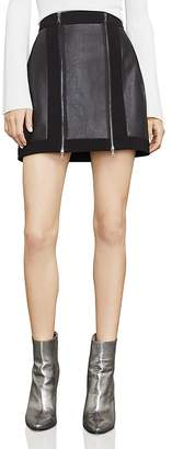 BCBGMAXAZRIA Roxy Faux-Leather Detail Mini Skirt