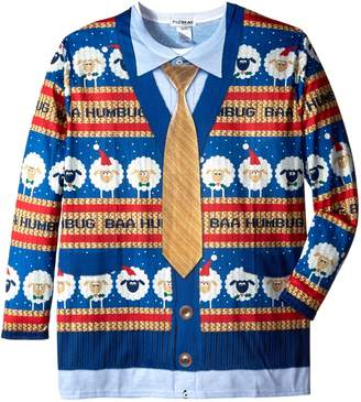 Faux Real Men's Big-Tall Baa Humbug Sweater Long Sleeve T-Shirt, Multi