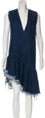 Marques Almeida Marques' Almeida Denim Ruffle-Accented Sleeveless Dress