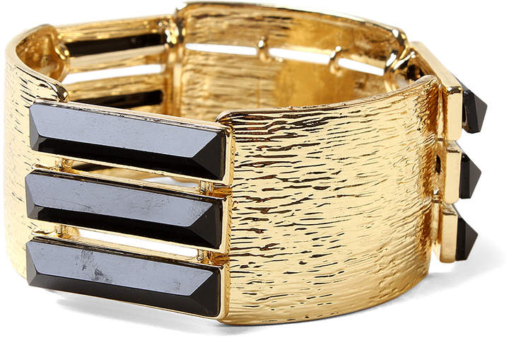 Black & Goldtone Stretch Bracelet
